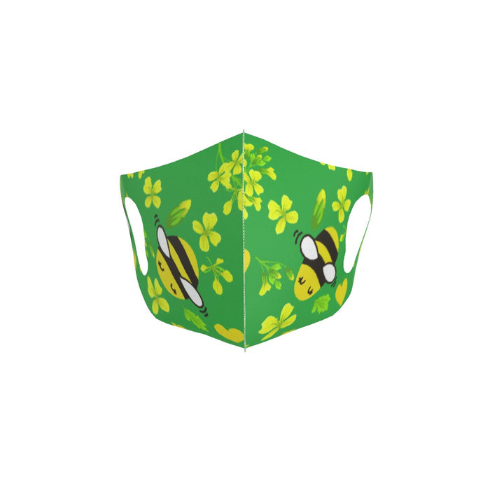 Ear Loop Mask - Bees on Green - printonitshop