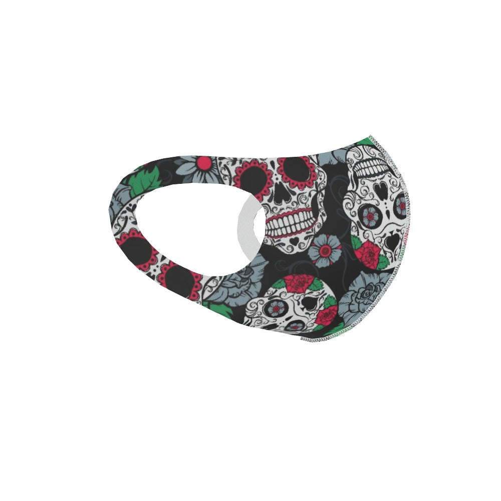 Ear Loop Mask - Skulls and Roses, Clothing & Accessories by Print On It