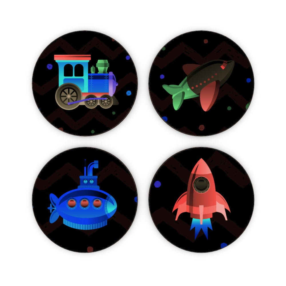 Coasters - Plane.Train.Sub and Rocket (mixed Set), Barware by Print On It