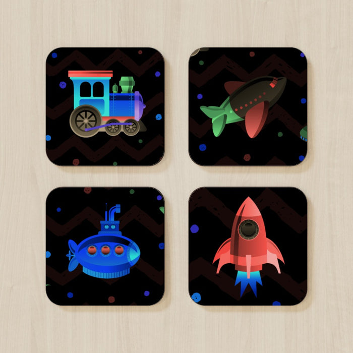 Coasters - Plane.Train.Sub and Rocket (mixed Set) - printonitshop