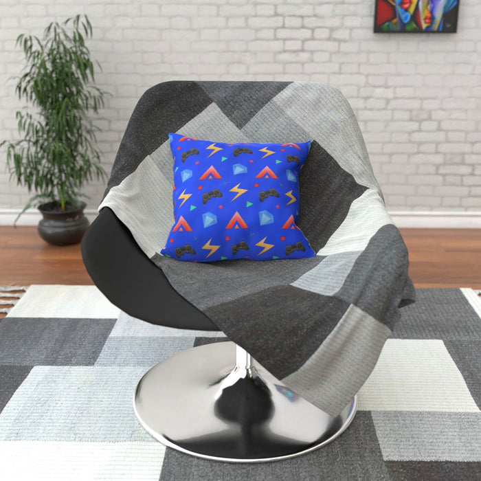 Cushion - Gamers Play Blue - printonitshop