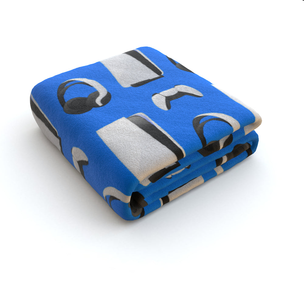 Blanket Throws - PS New Gaming Light Blue by  Print On It