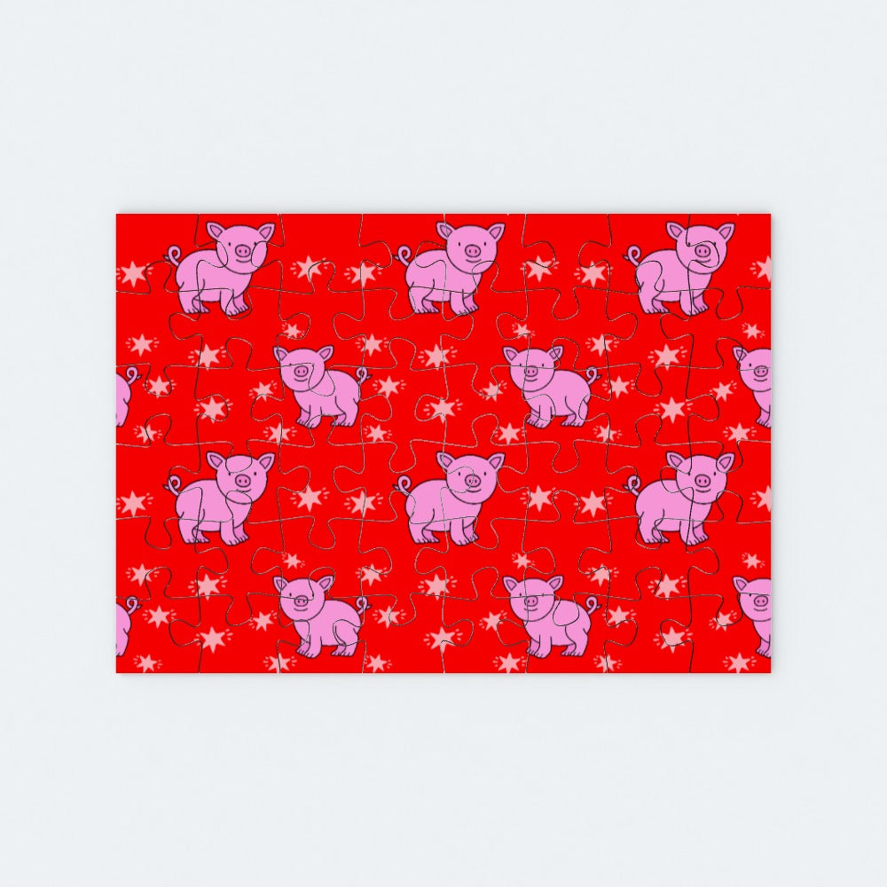 Jigsaw - Pigs on Red, Toys & Games by Print On It