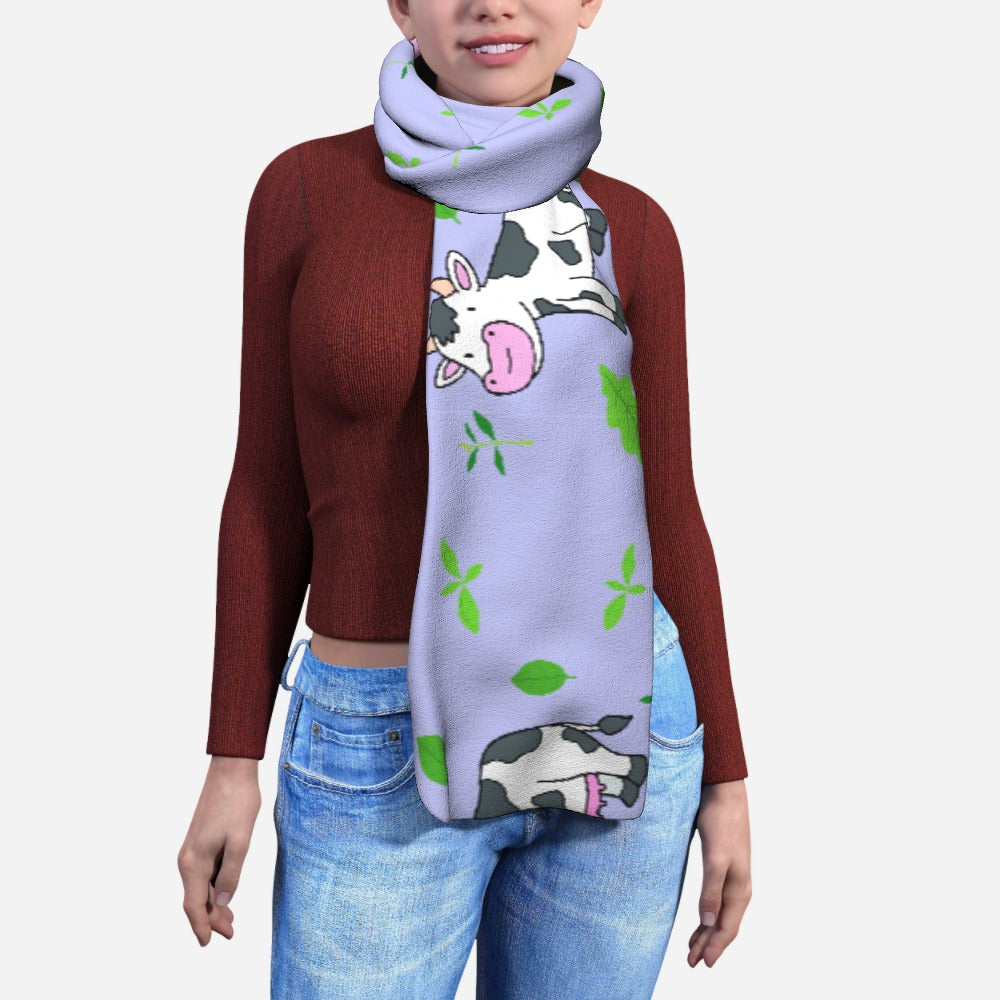 Blanket Scarf - Cows on Violet by  Print On It