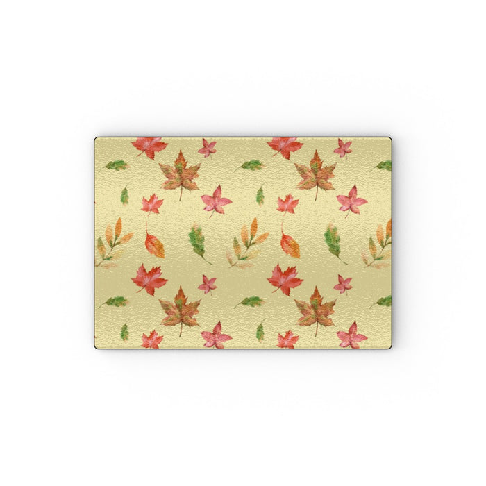 Glass Chopping Board - Autumn Leaves Cream - printonitshop