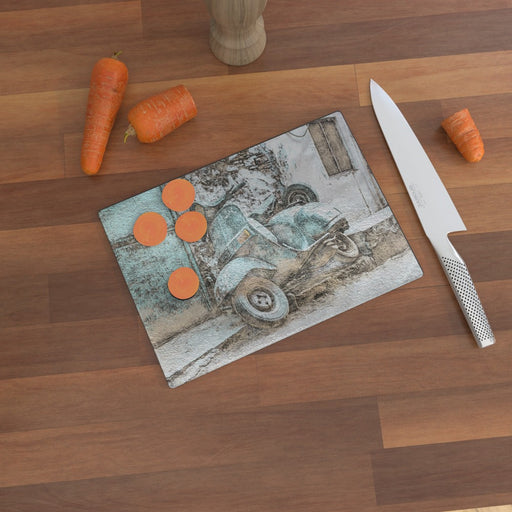 Glass Chopping Board - Classic Scooter - printonitshop