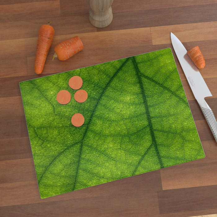 Glass Chopping Board - Green Leaf - printonitshop
