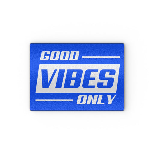 Glass Chopping Board - Good Vibes Only Blue - printonitshop