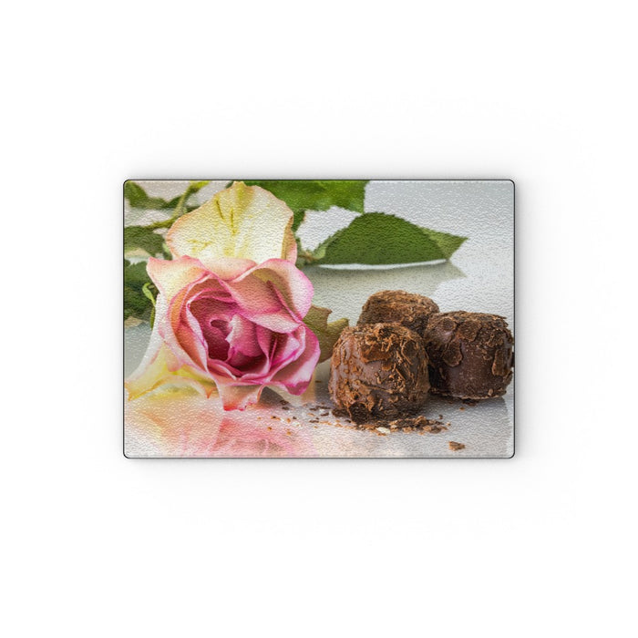 Glass Chopping Board - Chocolate and Roses - printonitshop