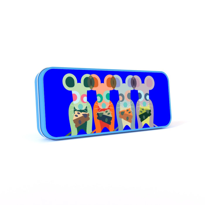Pencil Tins - Mice On Blue - printonitshop