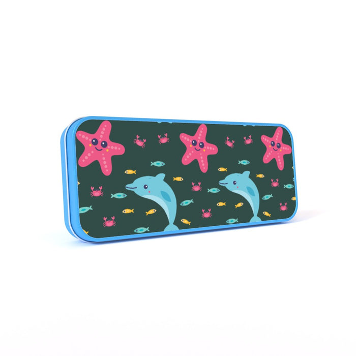 Pencil Tins - Dolphin and Starfish Dark - printonitshop