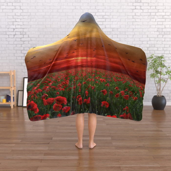 Hooded Blanket - Poppy Field - printonitshop