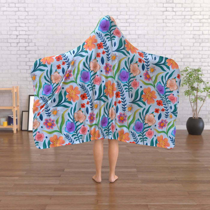 Hooded Blanket - Very Floral Blue - printonitshop