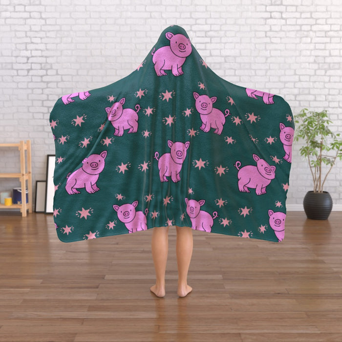 Hooded Blanket - Pigs on Green - printonitshop