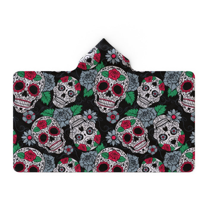 Hooded Blanket - Skulls and Roses - printonitshop
