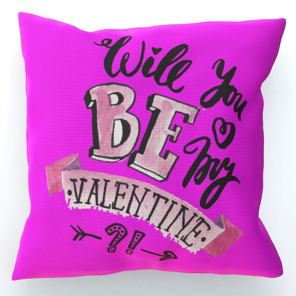 Cushion - Will You Be My Valentine - Pink, Home & Garden by Print On It