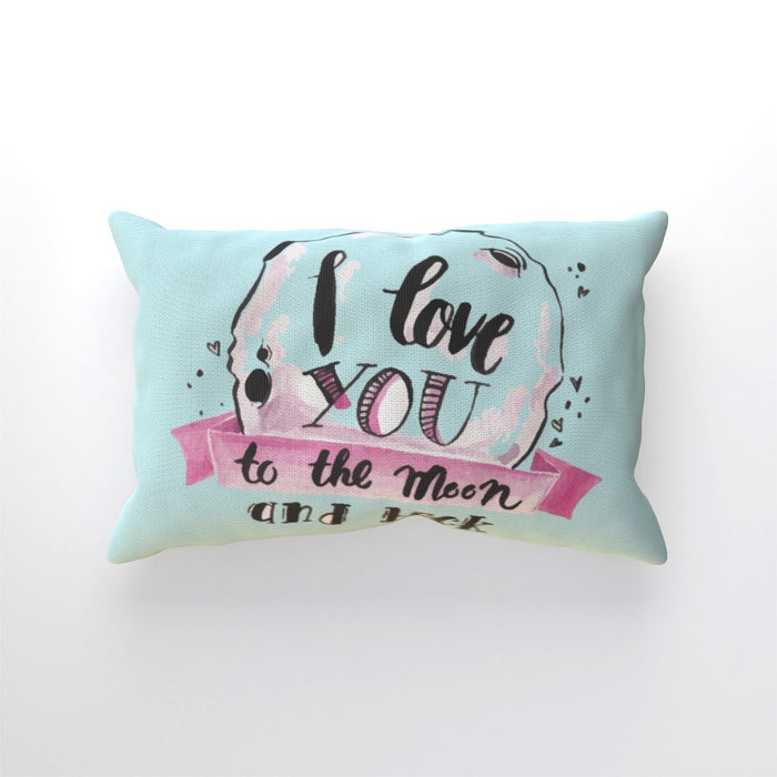 Cushion - I Love You To The Moon - Pale Blue - printonitshop