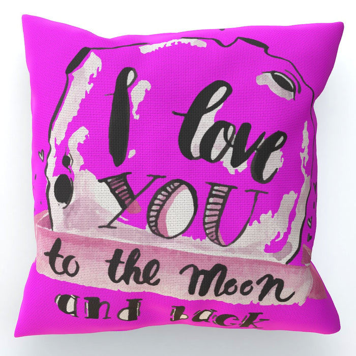 Cushion - I Love You To The Moon - Pink - printonitshop