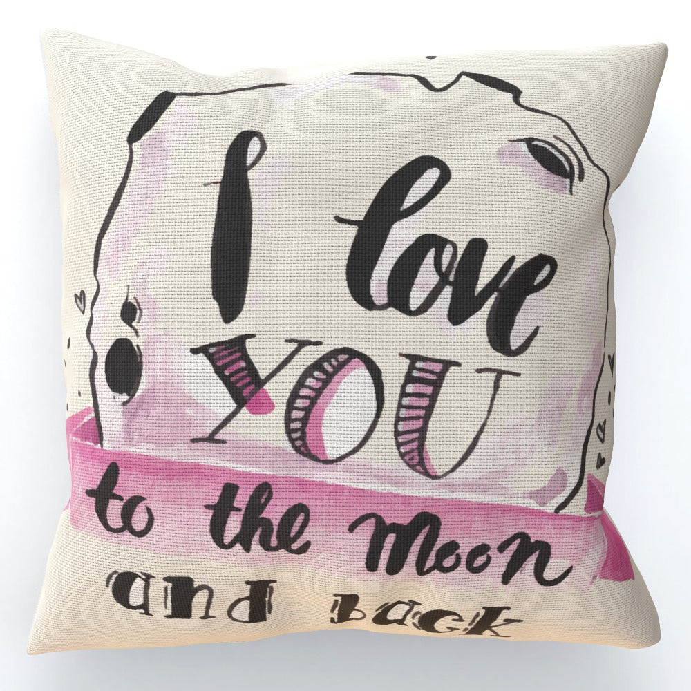 Cushion - I Love You To The Moon - Cream, Home & Garden by Print On It