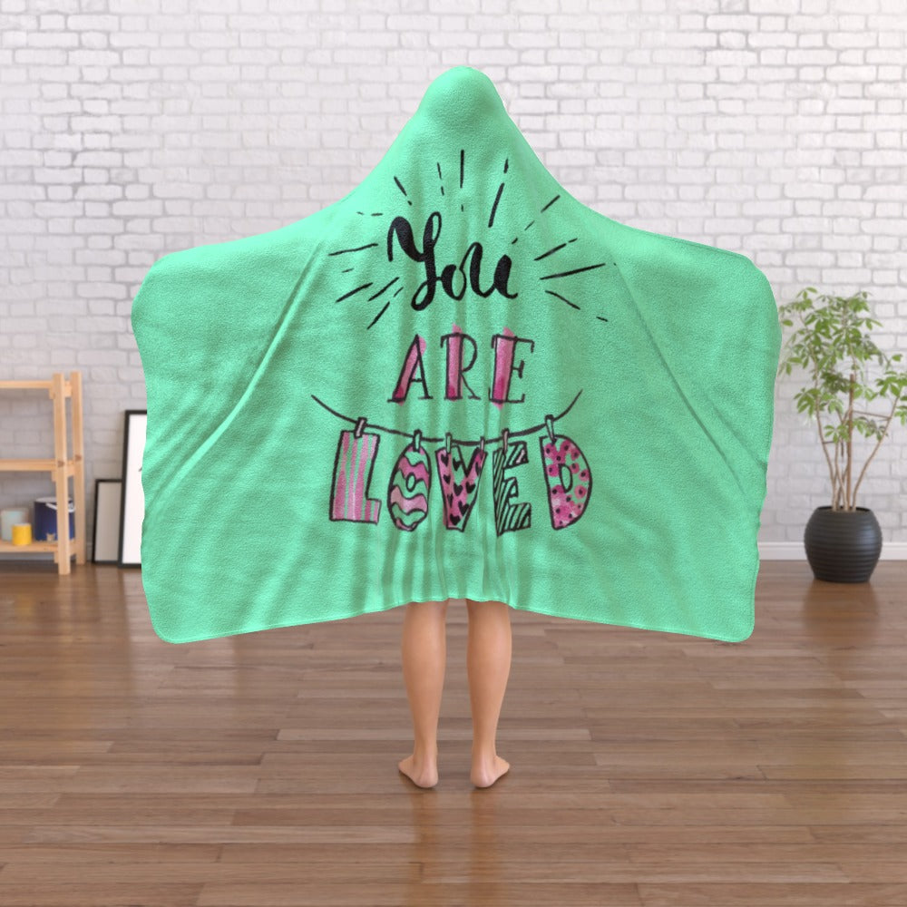 Hooded Blanket - You Are Loved - Green Zest, Linens & Bedding by Print On It