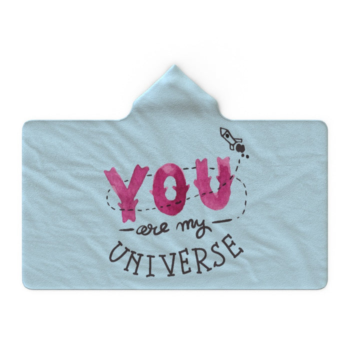 Hooded Blanket - You Are My Universe - Pale Blue - printonitshop