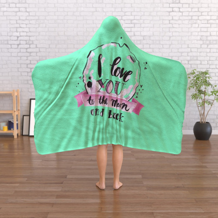 Hooded Blanket - Love you to the Moon - Green Zest - printonitshop