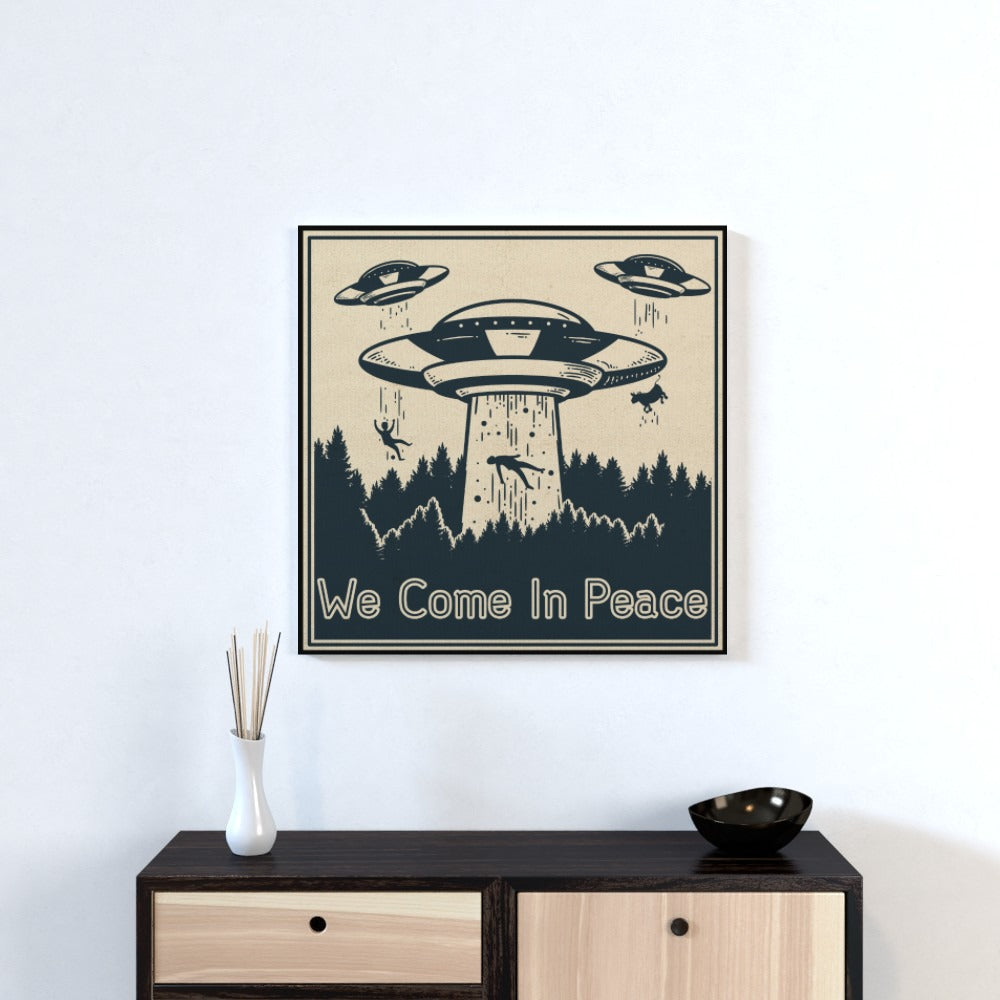 Wall Canvas - We Come In Peace, Textiles by Print On It