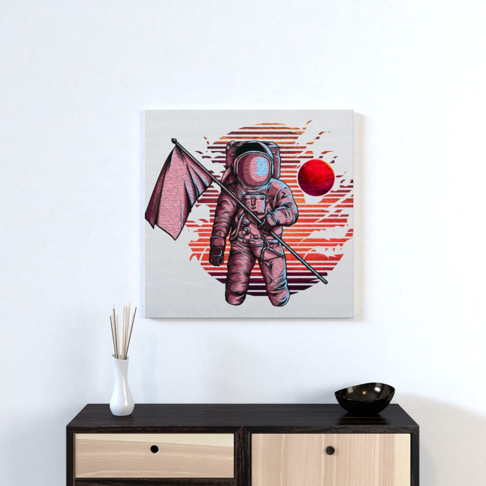 Wall Canvas - Red Planet Spaceman, Textiles by Print On It