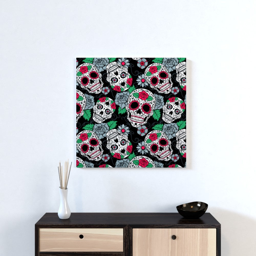 Wall Canvas - Skulls and Roses, Textiles by Print On It