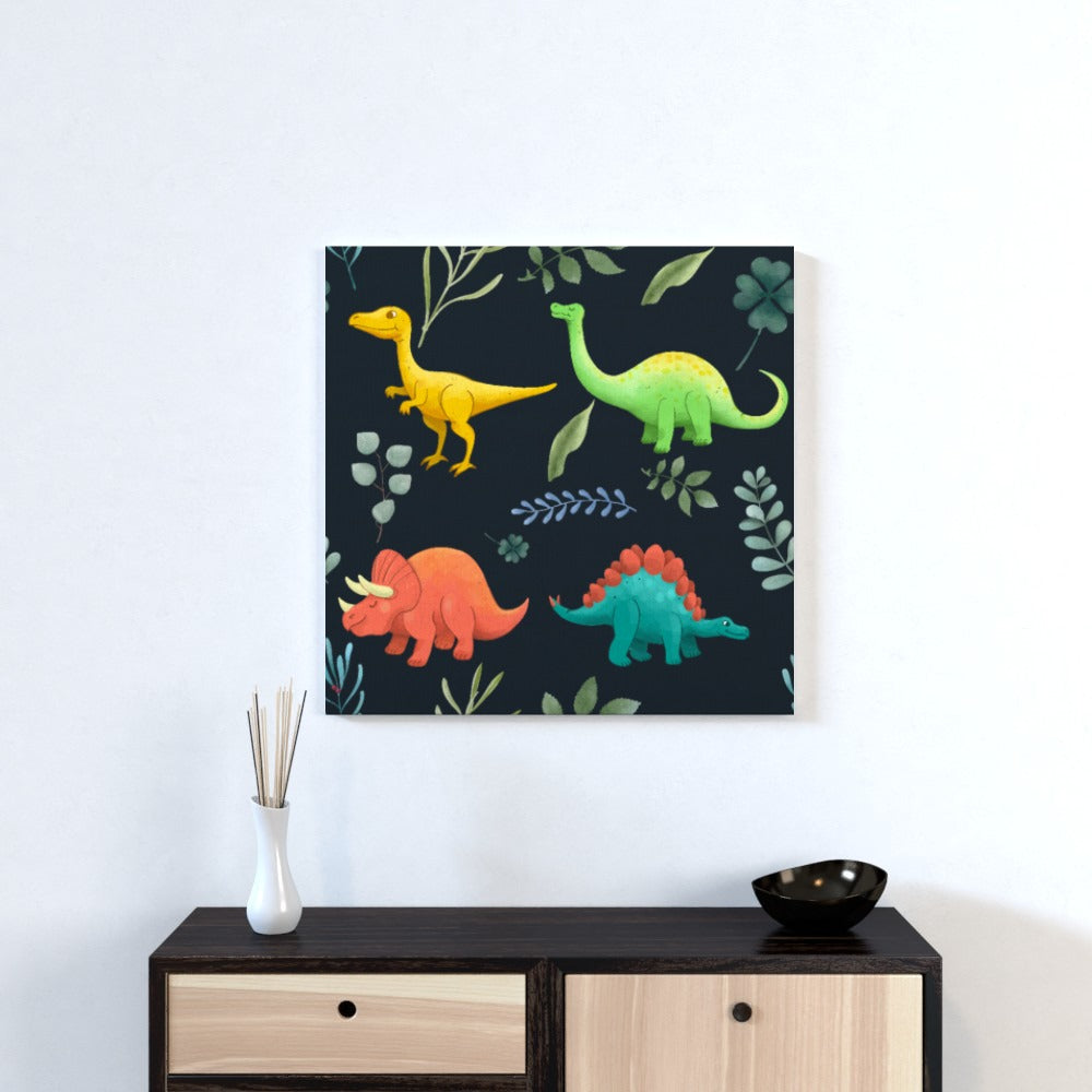 Wall Canvas - Dino Dark, Textiles by Print On It