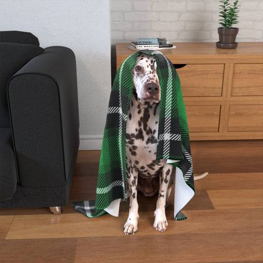 Pet Blankets - Green Crosshatch - printonitshop