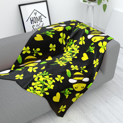 Blanket - Bees On Black - printonitshop