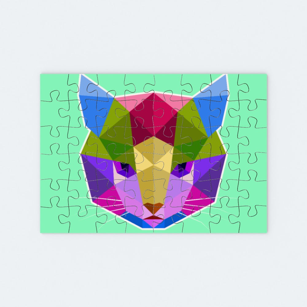 Jigsaw - Geometric Cat Face, Toys & Games by Print On It