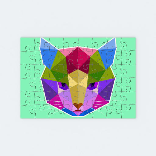 Jigsaw - Geometric Cat Face - printonitshop
