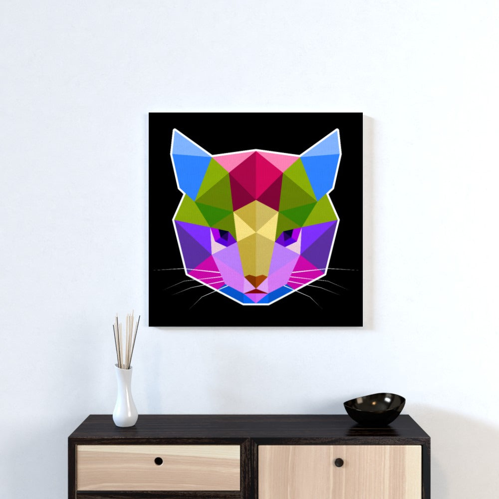 Wall Canvas - Geometric Cat face, Textiles by Print On It