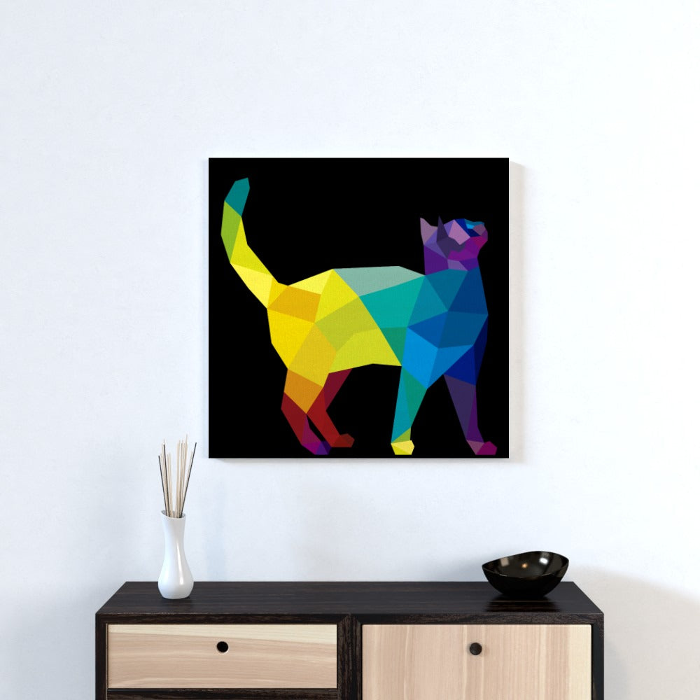 Wall Canvas - Geometric Cat, Textiles by Print On It