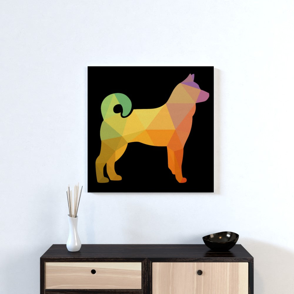 Wall Canvas - Geometric Dog, Textiles by Print On It