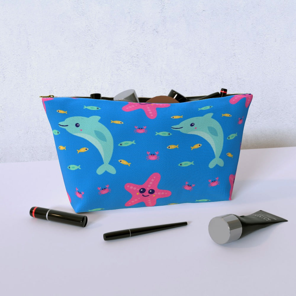 Cosmetic Bag - Dolphin and Starfish, Luggage & Bags by Print On It