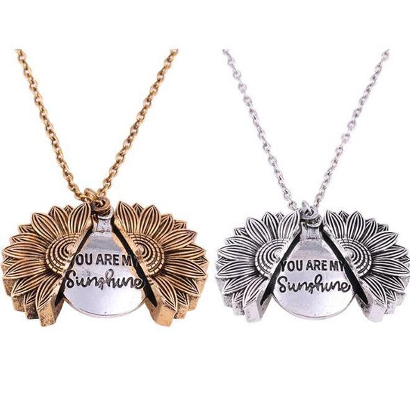 "(TWO FREE SHIPPING)""YOU ARE MY SUNSHINE""- SUNFLOWER NECKLACE + GIFT BOX"