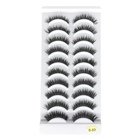 10 Pairs Lashes Handmade False Eyelashes S-02