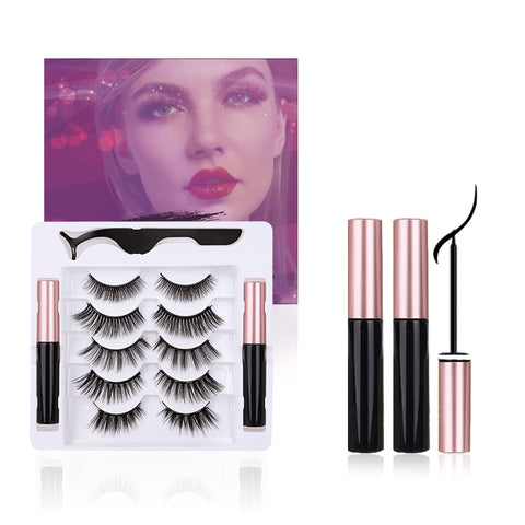 5 Pairs Magnetic Eyelashes with Eyeliner Kit, Natural Look & Glamnetic False Lashes with Applicator