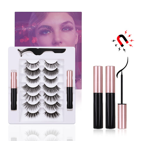 7 Pairs Magnetic Eyelashes with Eyeliner Kit, Natural Look & Glamnetic False Lashes with Applicator