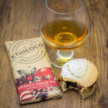 Load image into Gallery viewer, Brandy Mince Pie Chocolate Bar by Ethicoco