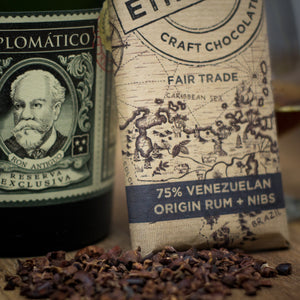 75% Venezuelan Origin Dark Chocolate with Rum Infused Cocoa Nibs