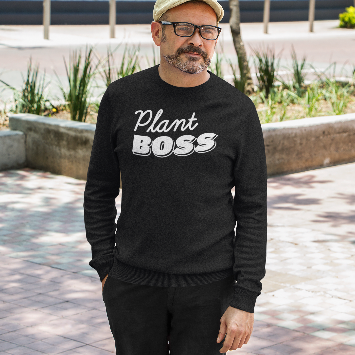 Plant Boss in White Lettering Men's Long Sleeve Tee
