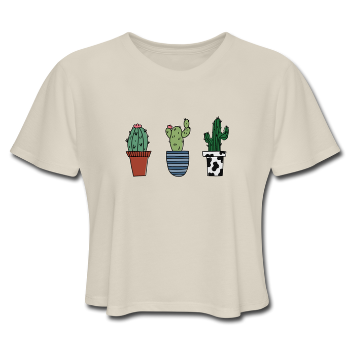 Cactus Trio Women's Cropped T-Shirt - dust