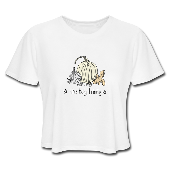 Garlic Onion Ginger Holy Trinity Women's Cropped T-Shirt - white