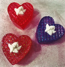 Load image into Gallery viewer, Three heart-shaped trinket boxes, all with white angels on top, the top box is red jelly appearance, the middle purple glitter, and the bottom is red glitter
