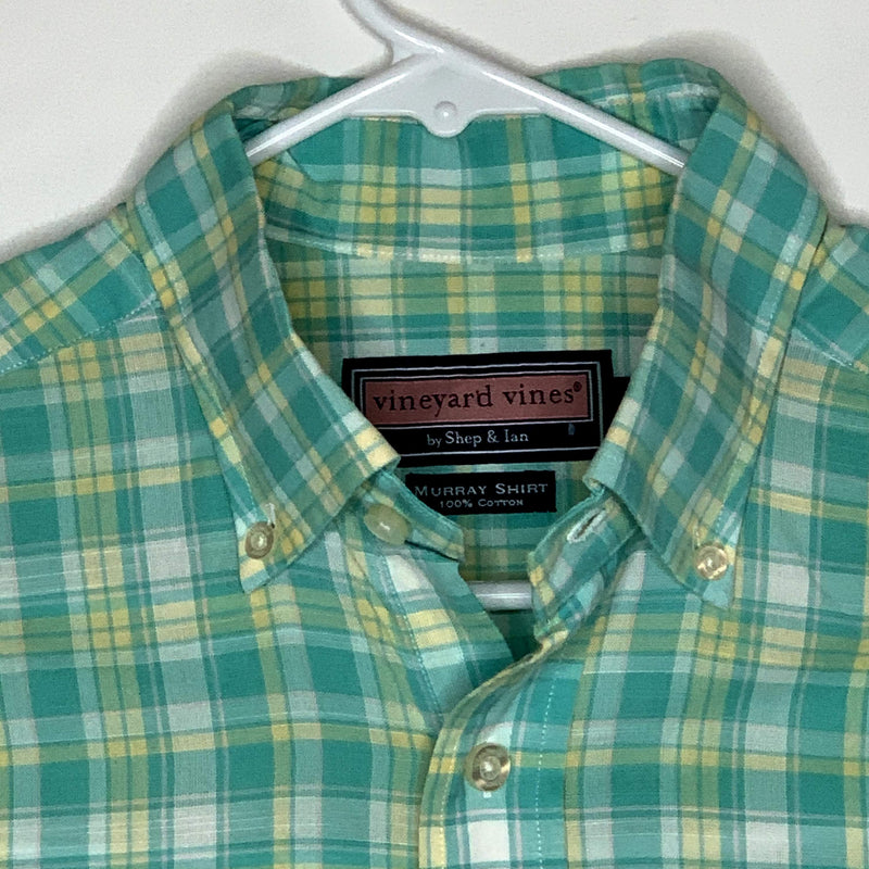 Vineyard Vines Mens Shirt Classic Fit Murray Plaid Green Yellow Small