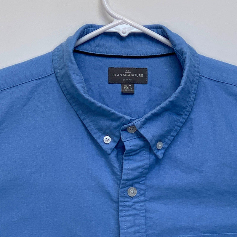 LL Bean Signature Mens Designer Shirt Blue XL Tall